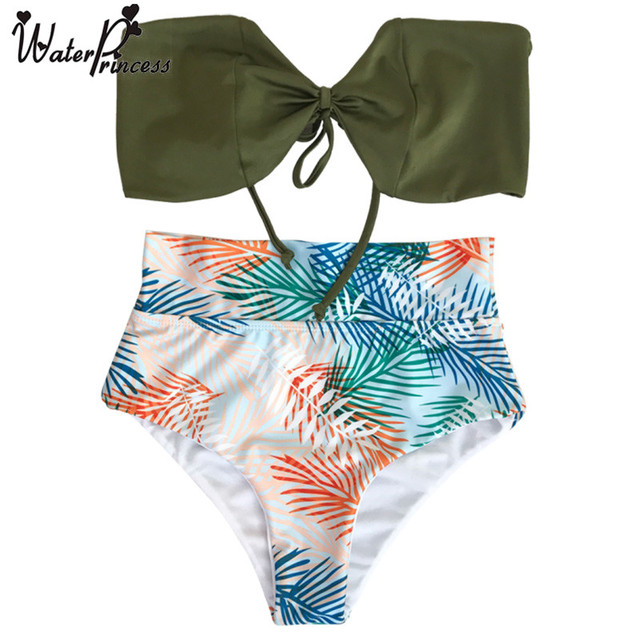 96aee49c13 Water Princess High Waist Bikini Set Bandeau Tropical Palm Tree Leaf Print Push  up Bathing Suit Beach Biquini Swimsuit Swimwear