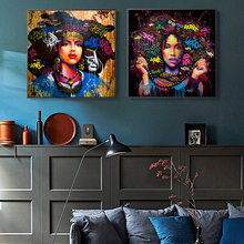 Graffiti Art Posters and Prints Canvas Painting For Living Room Wall Watercolor Beautiful Girl Decoration Paintings No Frame