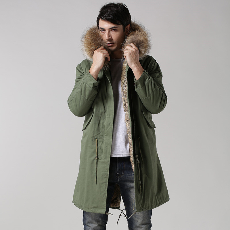 Fashionable high-end Italy style faux rabbit fur lining coats real raccoon fur collar jacket winter men fur parkas