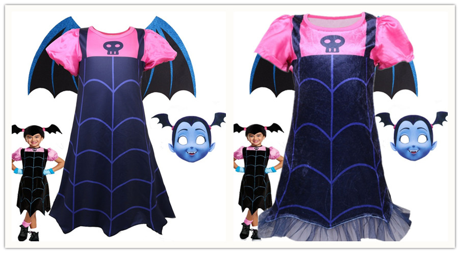 Vampire girls Cosplay Costumes girls Dress And headband 2PCS Kids Party Dress For Girl Streetwear children clothing