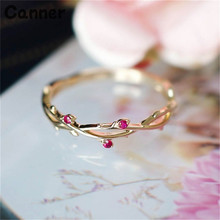 Canner Crystal Simple Gold Womens Rings Twisted Leaves Chic Dainty Finger Wedding Party Jewelry W25