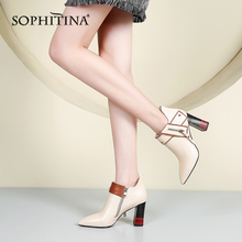 SOPHITINA Sexy Pointed Toe Boots High Quality Cow Leather Fashion Mixed Colors Square Heel Shoes New Special Ankle PO218