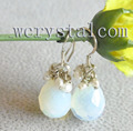 Слеза лунный камень грановитая болтаться белые перл длинные серьги падения украшения для женщин 2016 aros де-плата 925 женщина