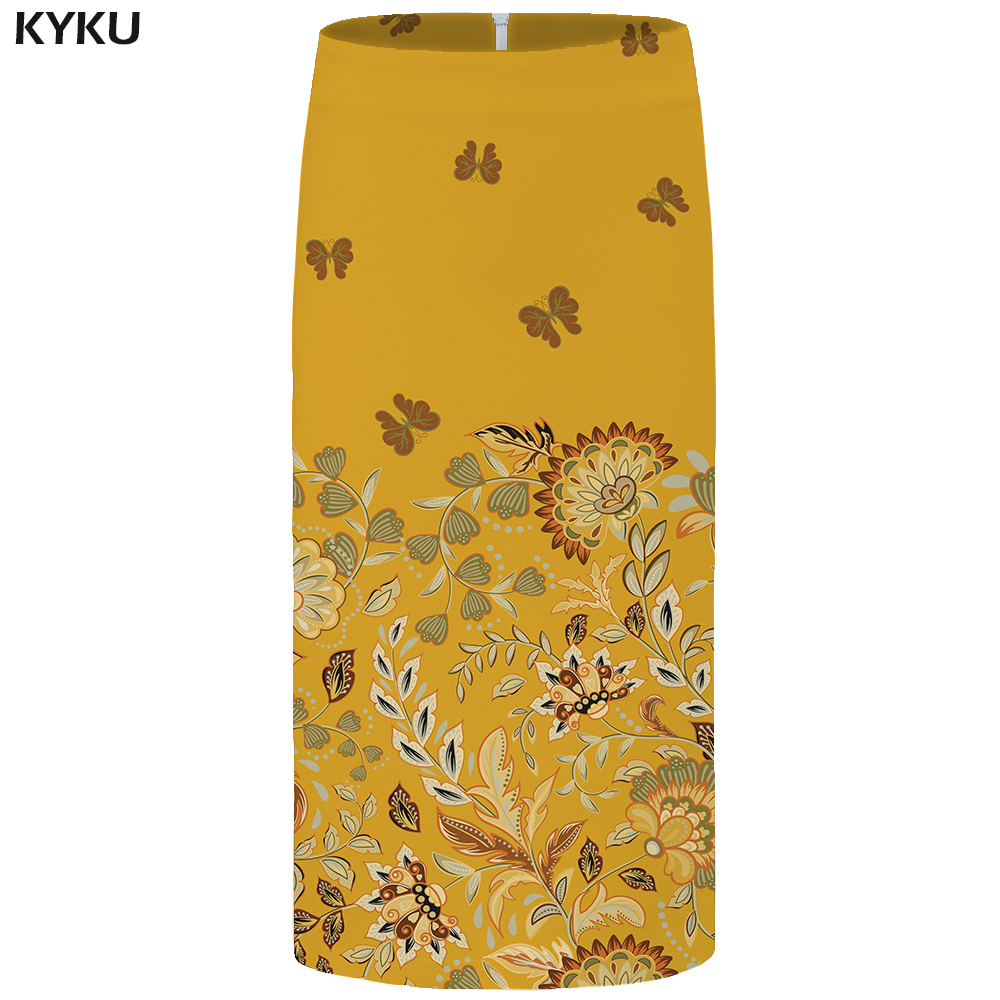 KYKU Brand Flower Skirts Women Yellow Butterfly Leaf Pencil Animal 3d Print Skirt Sexy Anime Ladies Womens Casual