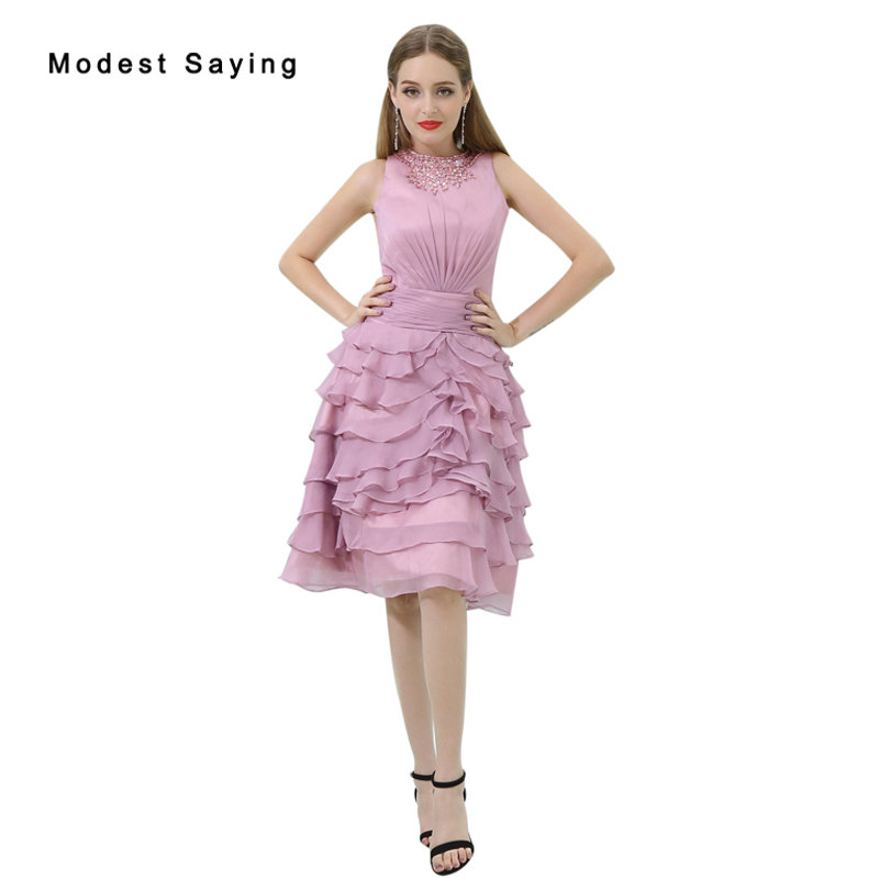 Elegant Dusty Pink Tiered Beaded Knee Length Cocktail Dresses 2017 Girls Formal Homecoming Prom Gowns Vestidos De Coctel B022