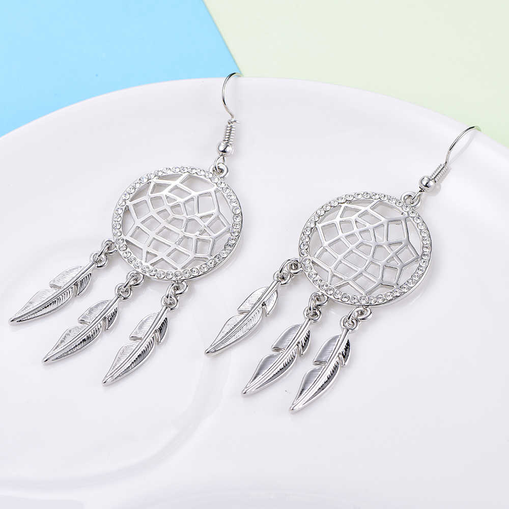 Gold Silver Tassels Dream Catcher Earrings Long Feather Vintage Crystal Drop Earrings For Women Fashion Jewelry Mom Gifts 2019