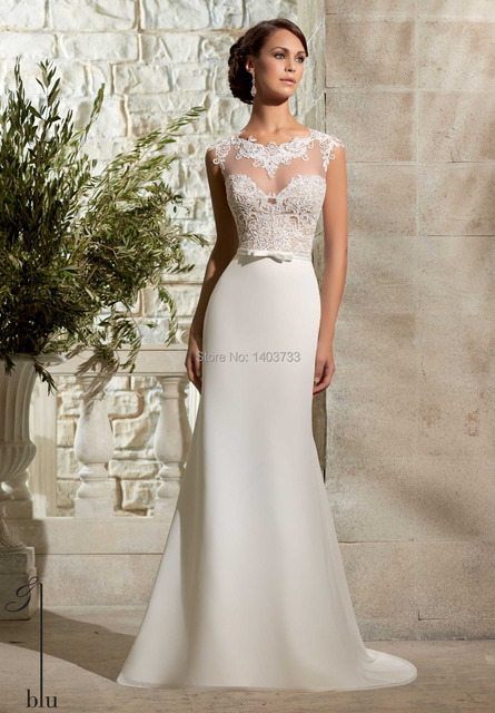 Y High Neck Wedding Dress 2017patterns Covered Back Lace Top Sheath Gowns Custom