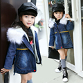 Kids Clothes 2017 Girls Winter Coat Children Clothing Fur Collar Hooded Thick Warm Jacket Denim Cowboy Coat Age 3-15Y