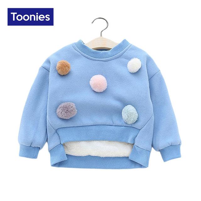 Niñas de Punto Suéter de Otoño Invierno de Los Niños del Suéter de Cuello Redondo Nuevo Pullovers Precioso Suéter Bola de Pelo ropa de Chica de Moda tops
