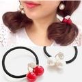 $ Venta caliente moda mujer pelo Tousheng anillo de goma Tousheng Rhinestone cereza fresca y encantadora al por mayor Accesorios Para Damas