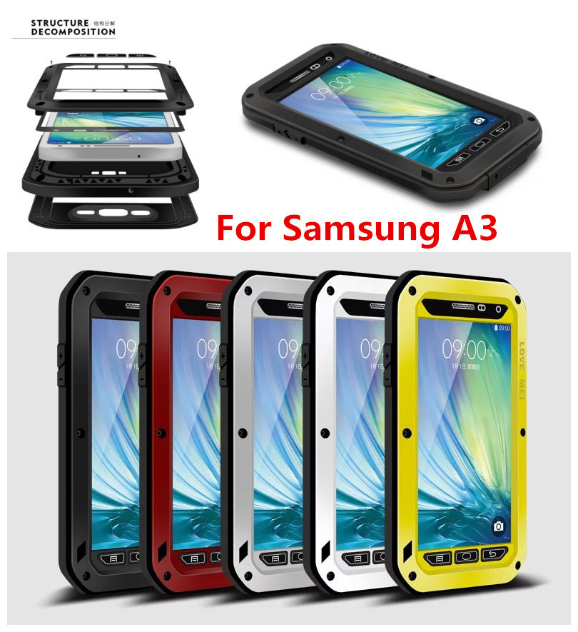 differently 20fee e7c6b US $26.99 |Powerful Metal sleeve for Samsung Galaxy A3, Outdoor shockproof  case,silicone back cover shell for A3000 with Gorilla Glass on ...