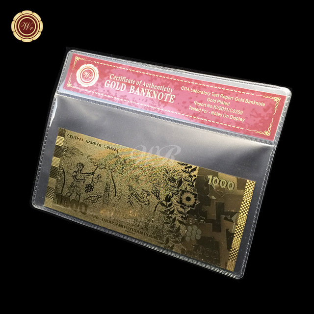 Syrian Flag Gold Banknotes Paper Money 1000 Pound Unc Bill With Red Coa And