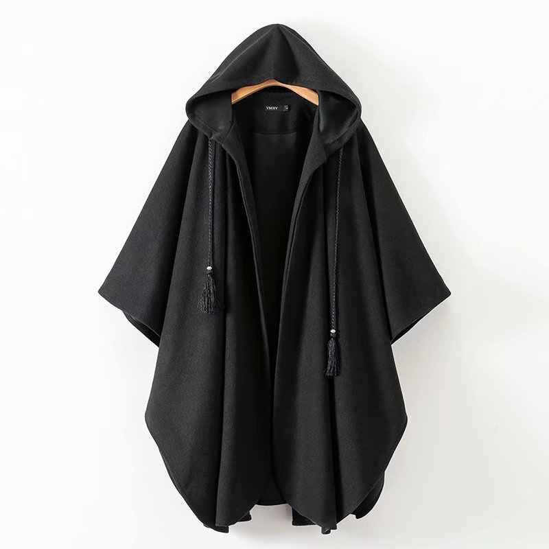 Capa larga gótica mujer capas de invierno negro abierto cordón en ...