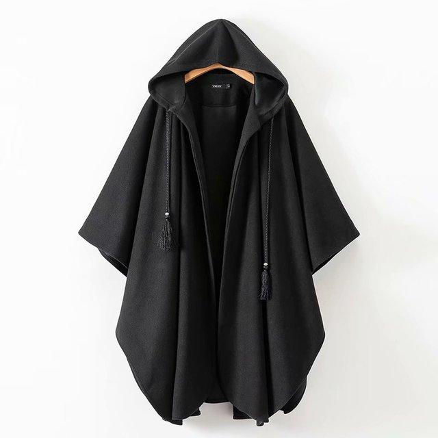 plutôt sympa revendeur grande sélection € 30.87 49% de réduction|Longue Cape Goth femmes hiver Capes noir ouvert  devant cordon à capuche robe Poncho Cape Chic rétro gothique laine chaude  ...