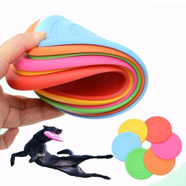 18 cm perro discos voladores entrenamiento cachorro juguete de goma buscar disco volador Frisby, juguetes para mascotas juguetes para
