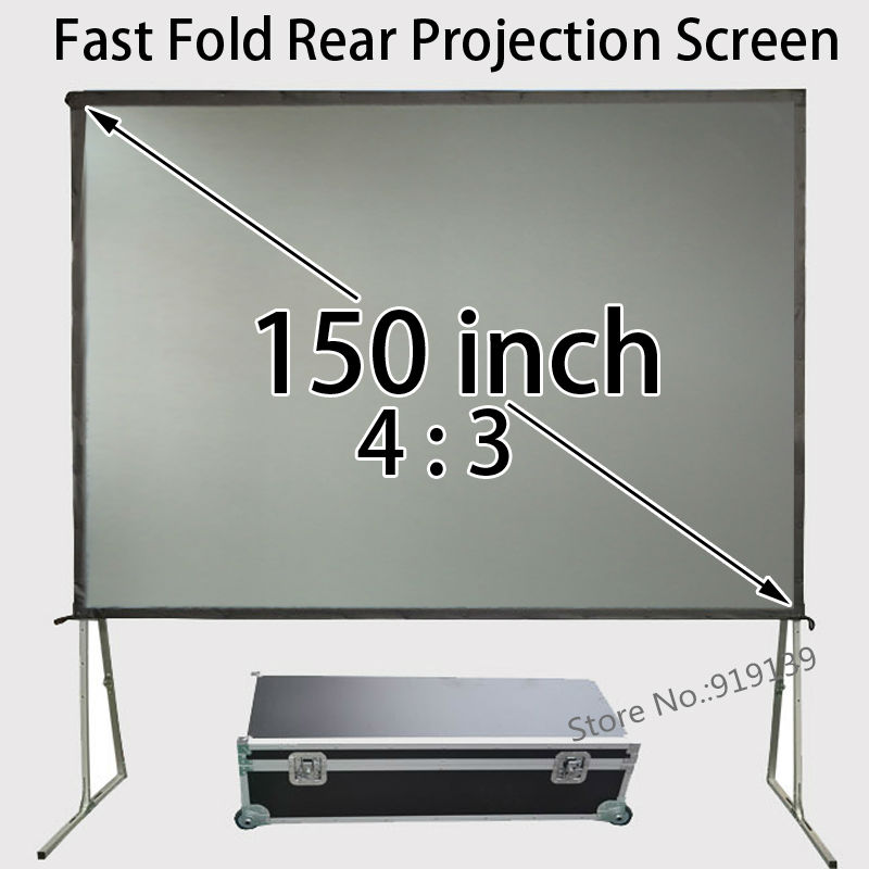 Full HD 150inch 4 To 3 Ratio Rear Projection Screen With Fast Folding Frame And Transport Aluminum Box