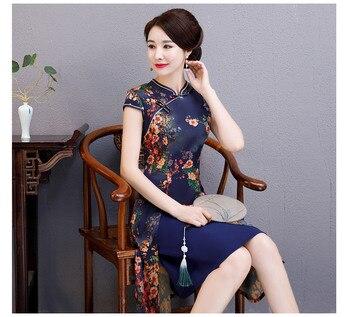 Sexy Womens AO Dai short Cheongsam 2019 Summer Vintage Chinese style Rayon Knee Length Qipao Fashion Slim Party Dress Vestido фото