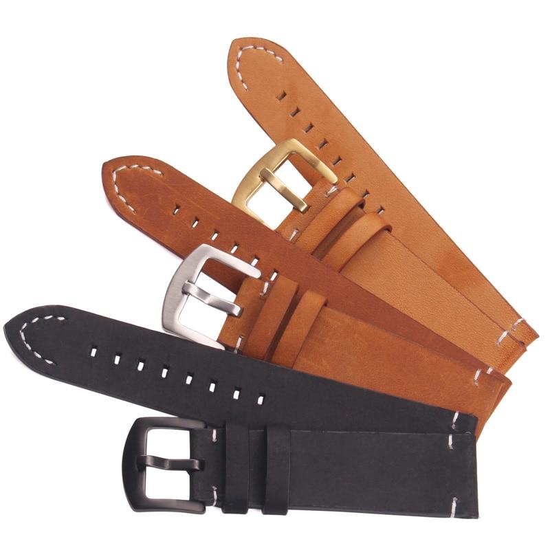 Italian Retro Genuine Leather Watchbands Black Dark Brown Men 18 20 22mm Soft Watch Band Strap Metal Pin Buckle Accessories brown black genuine leather watch strap band 18 19 20 21 22 mm soft