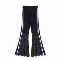 2018 Spring Women Fashion NewLace Patchwork Pants Female Elastic High Waist Side Stripe Hollow Out Flare Trousers Q043