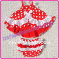 3 set/lote al por mayor red puntos blancos tapa del oscilación del bebé de la navidad vestido ropa barata del vestido rojo de lunares blancos