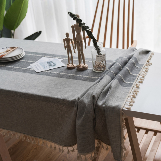 Bon Gray Rectangular Table Cloth Linen Tassel Decorative Tablecloths In The  Kitchen Modern Splice Table Cover Wedding