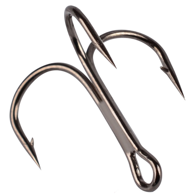 100 Pcs Fishing Treble Hook Carbon Steel Tackle Barbed Pike Flying 2/4/6/8/10#