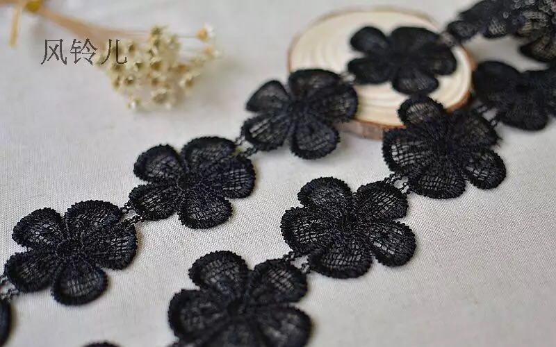 2 Meters Lot Embroidery Black Lace Trim For Clothing Decoration 6cm Width New Style Flower