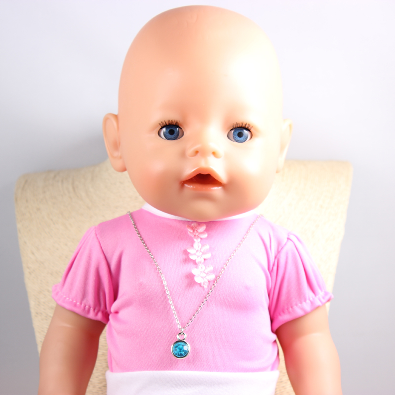 Doll Accessories Sky Blue Round Crystal Charm Necklaces Fit 43cm Doll Baby Born zapf Children best