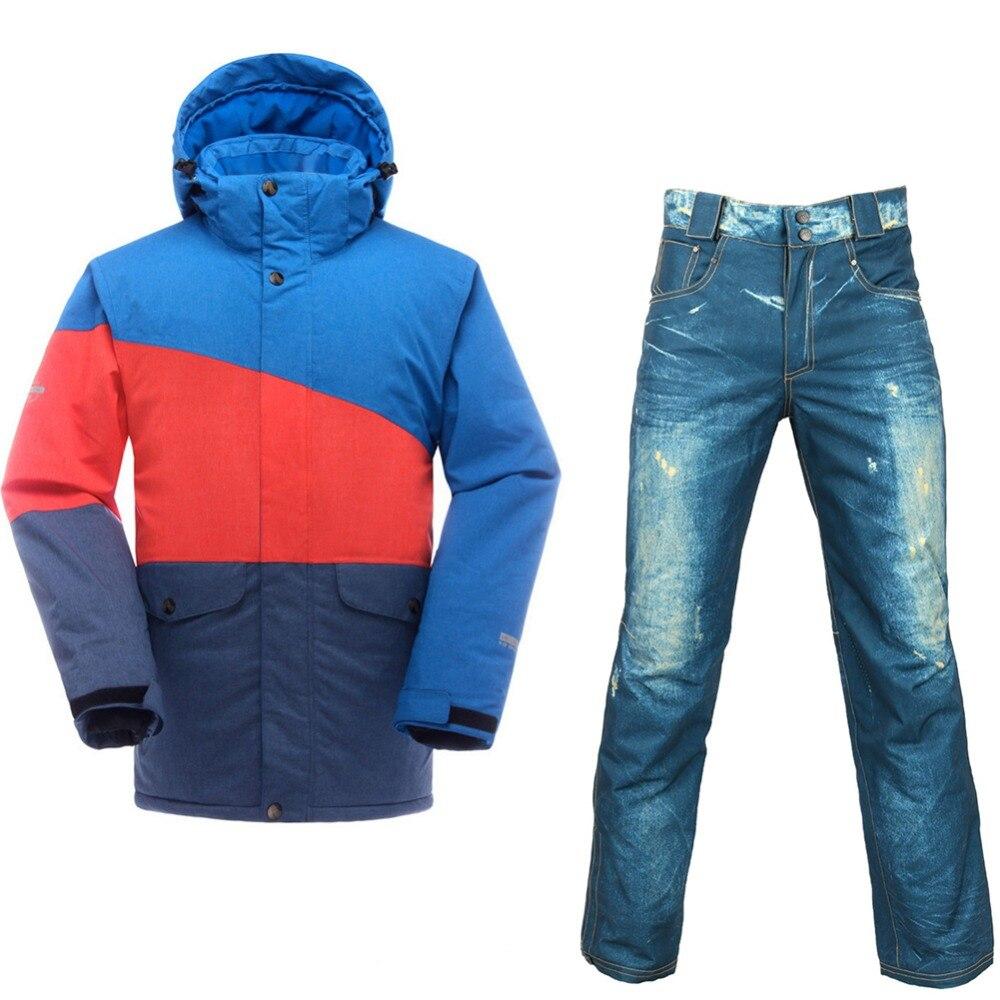 Saenshing Водонепроницаемый лыжный костюм Для мужчин Mountain Лыжный спорт куртка + сноубордические брюки дышащие зимние снегоход пальто-30 градусо...