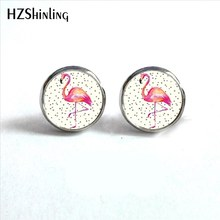 2017 New Arrival Flamingo Stud Earrings Glass Dome Flamingo Round Jewelry Animal Earrings for Women Wholesale HZ4(China)