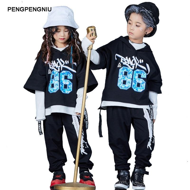 85bf10c18 Comprar PENGPENGNIU niños Hip Hop traje 2018 otoño nueva llegada niños  niñas tres piezas conjunto Street Dance ropa tamaño 5 6 8 10 12 14 Y Online  Baratos .
