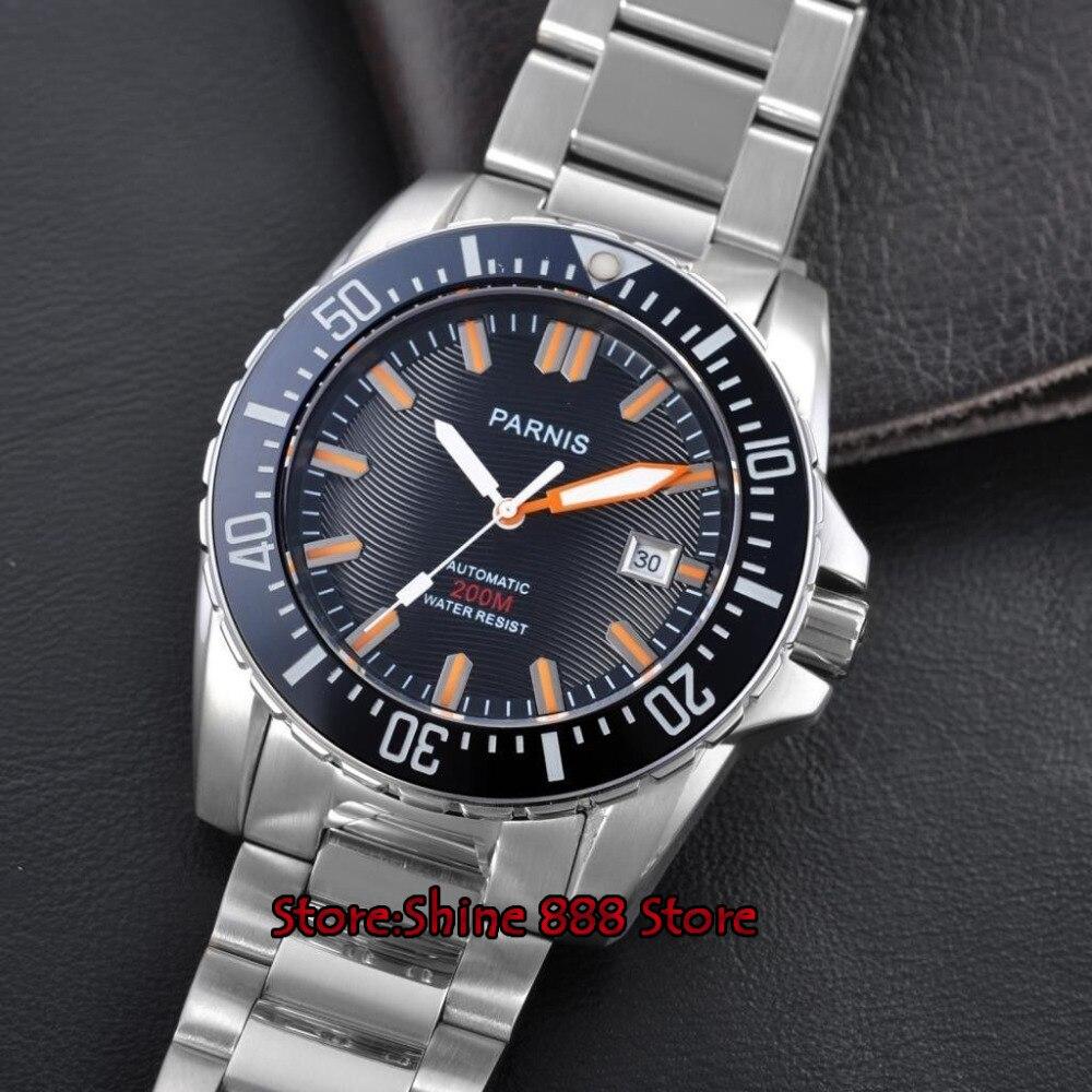 43mm Parnis zwarte wijzerplaat Keramische Bezel saffierglas 21 jewel miyota automatische dive mens watch-in Mechanische Horloges van Horloges op  Groep 2