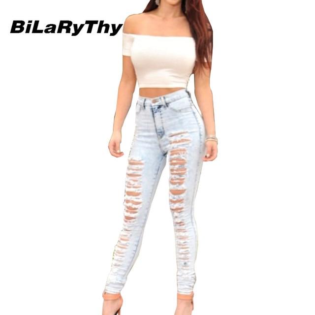 BiLaRyThy Mulheres Sexy Rasgado Buraco Calças Comprimento Total de Cintura Alta Calça Jeans Skinny Jeans Calças Calças Lápis Casuais para a Mulher