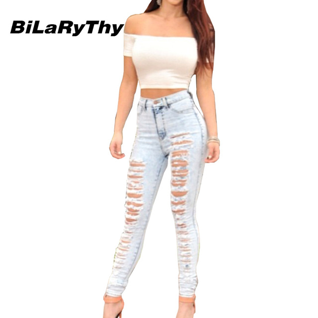 BiLaRyThy Sexy Women Ripped Hole Skinny Denim Pants Full Length High Waist Jeans Trousers Casual Pencil Pants for Woman