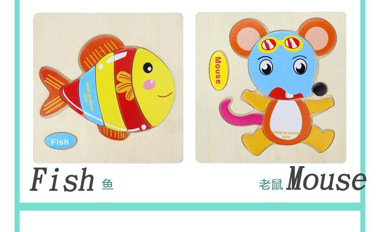 6 шт./лот деревянный мультфильм 3D пазл, мозаика Tangram Детский образовательный подарок Монтессори развивающие игрушки