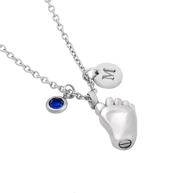 Engravable Baby Foot Memorial Locket Necklace Diy Birthstone Letter Charm Stainless Steel Cremation Jewelry Urn Pendant For Ash