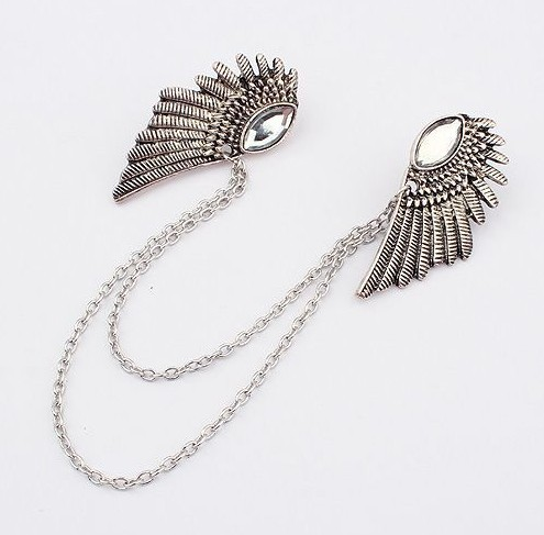 Fashion Vintage Retro Wing Brooch Angel WIng Collar Chain Broch Pip Collar Pin Wholesale Canlyn CY013