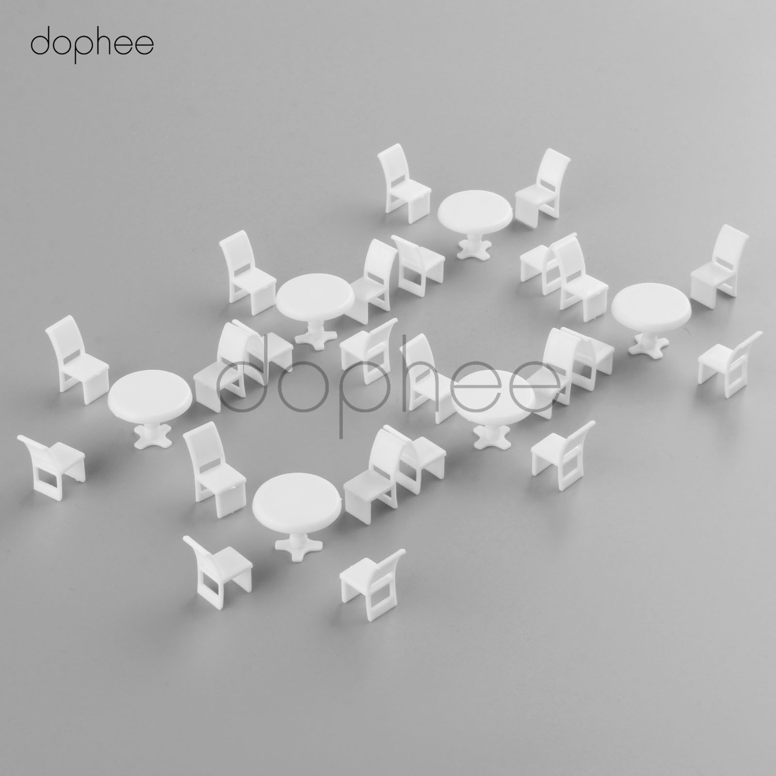 dophee 10 sets White Round Dining Table Chair Settee Railway Model 1:50 model building kit railway modeling