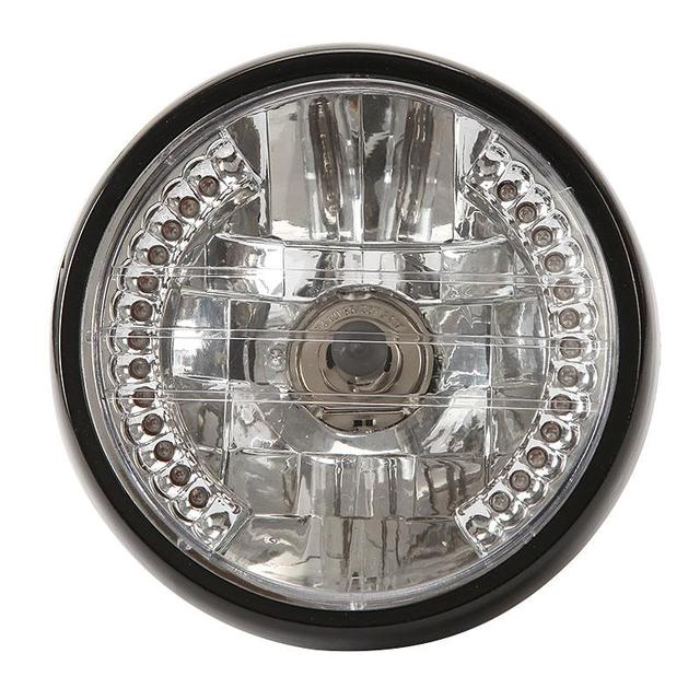 "7"" Motorcycle Halogen Headlight With Turn Signals H4 35W P43T Bulb Angel Eye Motorbike Light For Honda Kawasaki Yamaha Suzuki"