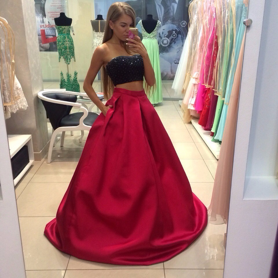 3e6f1d989c7d Sexy Two Pieces A Line Evening Dress 2017 Prom Dresses Black And Rose Pink  Strapless Evening Gowns Long Party Dresses M2501-in Evening Dresses from  Weddings ...