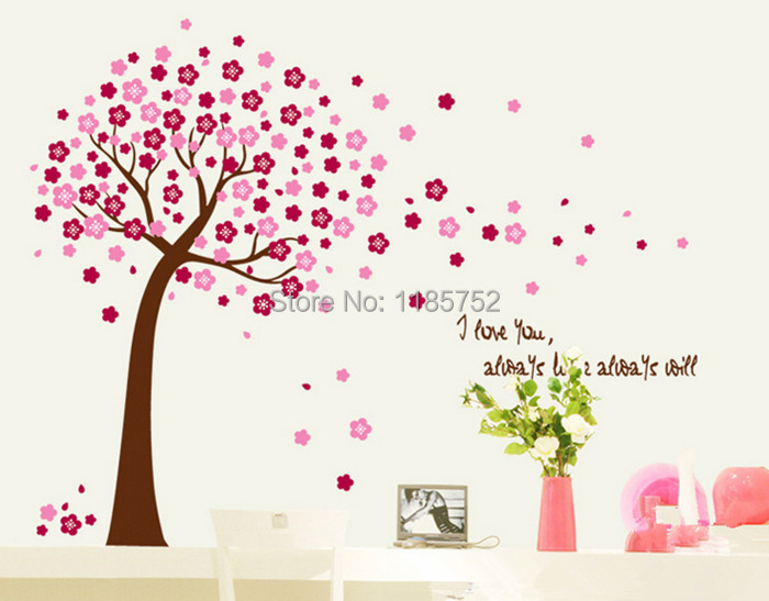 Pink Peach Blossom Tree Diy Wall Sticker Wall Art Decal Paper Stickers Home Decor For Living Room Bedroom Decorative Vinyl Wall Stickers Sticker Home Decorstickers Hood Aliexpress