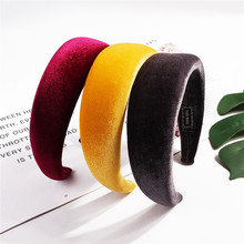 Fashion Women Velvet Sponge Wide Thick Hairbands Solid Colors Plain Headbands Personality Multi Hair Bands Dress