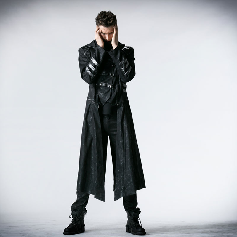 Men Winter Gothic Cool Long Trench Coat Detachable Stand Collar Jackets Plus Size Hoodie Punk Streampunk Vintage Overcoat Male
