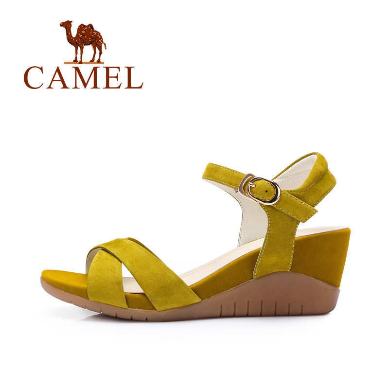 Camel shoes women matte leather buckle strap wedge sandals 2016 summer new  minimalist women wedges high heels sandals a62827619-in Women's Sandals  from ...