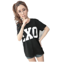 2016 Summer EXO Letter Print T Shirt Women Harajuku O Neck Short Sleeve Camisetas Mujer Black