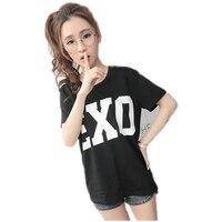 2016 Summer EXO Letter Print T Shirt Women Harajuku O Neck Short Sleeve Camisetas Mujer Black
