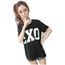 2016 Summer Exo Letter Print T Shirt Women Harajuku O-neck Short Sleeve tshirt women Tops Black White Tee Shirt Femme(China)
