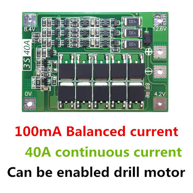 2PCS 3S 40A Li-ion Lithium Battery Charger Protection Board PCB BMS with Balancer For Drill Motor 11.1V 12.6V Lipo Cell Module