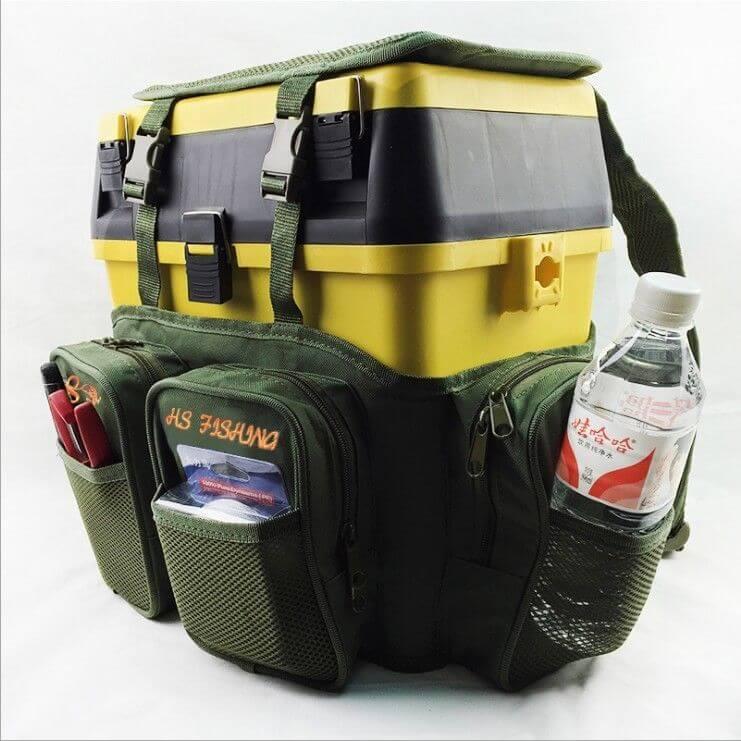 40x20x38cm Carp Sea Fishing Green Harness bag Pack Rucksack Converter Pocket for all Seat Box Tackle Boxes Two-Layer Sea Lake
