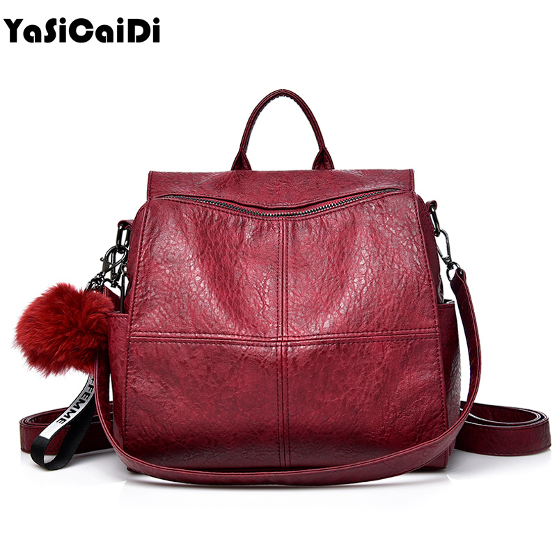 Women Sheepskin Leather Women Backpack Full Ball Shoulder Bag Large Capacity School Backpacks For Teenage Girl Travel Bag Mochil brand women backpack pu leather school backpacks for teenage girls shoulder bag large capacity travel bags